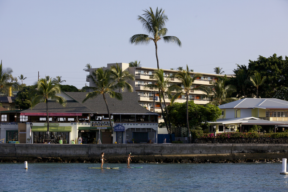 View of hotel exterior from pier
